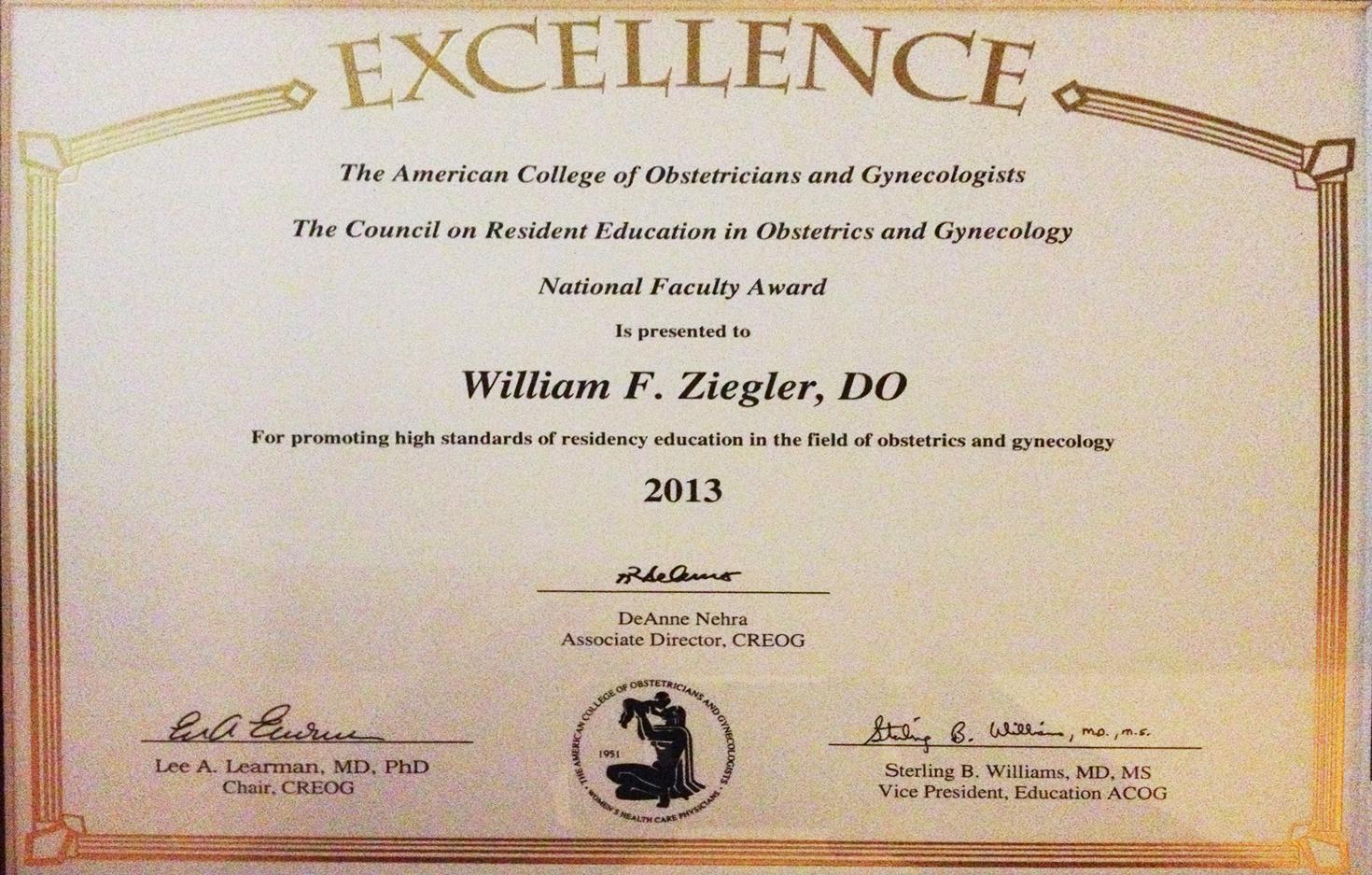 National Faculty Award