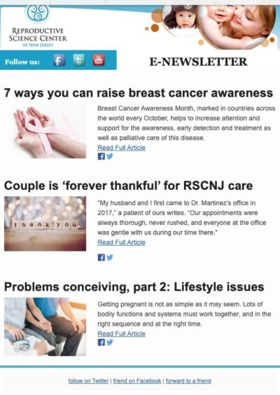 Fertility Newsletter | Reproductive Science Center of New Jersey | New Jersey